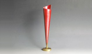 銅器 一輪挿し 紅色小