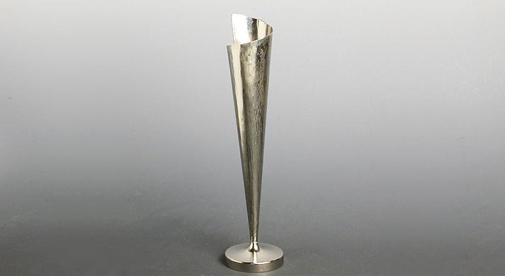 銅器 花入 銀色垂花