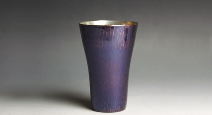 銅器 銅器 内錫被 藍古色杯